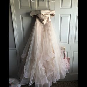 La Femme - 27224 Off-Shoulder Pleated A-Line Gown